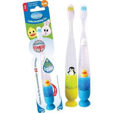 B Brite Brush Right 勤樂動物夥伴閃光計時吸盤式牙刷lambda型號 隨機發貨
